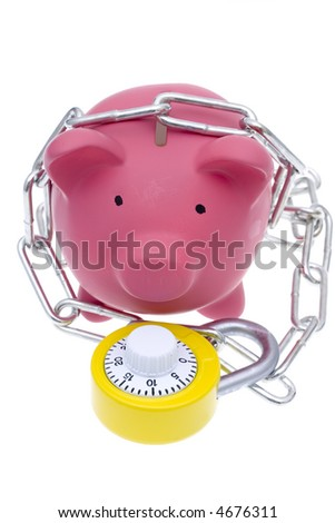 A pink piggy bank with chains and a bright yellow combination lock with some pennies isolated on a white background - stock photo