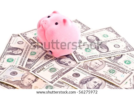 a pink pik sits on a carpet from a money. Focus on pig - stock photo