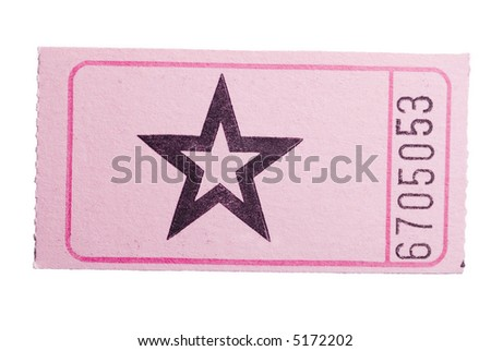 A pink star ticket isolated on a white background - stock photo