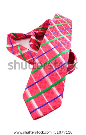 a pink tie isolated on a white background - stock photo
