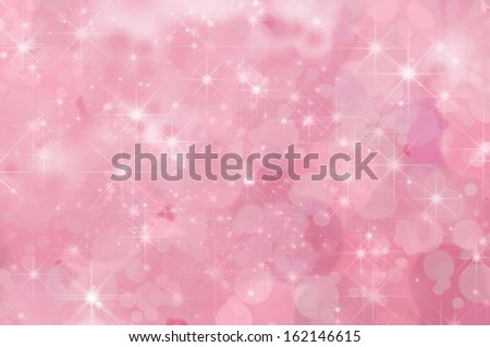 A pink, twinkling star filled abstract background with misty clouds and bokeh. - stock photo