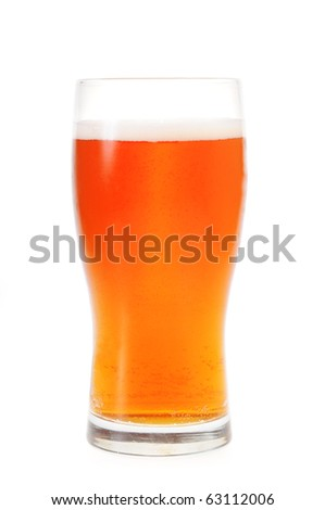 A pint of amber ale isolated on white background