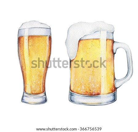 A pint of beer and a glass (mug) of beer hand drawn in watercolor with watercolor texture. Alcohol drinks - stock photo