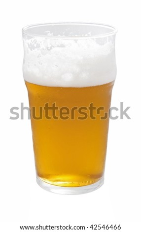 A pint of beer isolated on white
