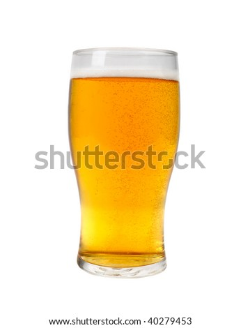 a pint of beer on white clipping path included - stock photo