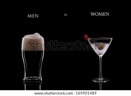 A Pint of Dark Beer and a Cocktail in a Martini Glass on a Black Background. Men Versus Women Concept