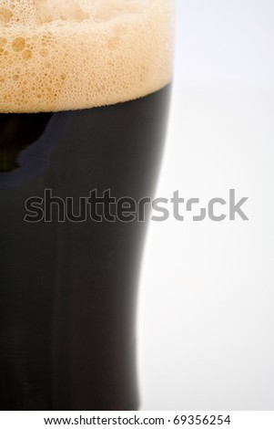 A pint of stout dark beer