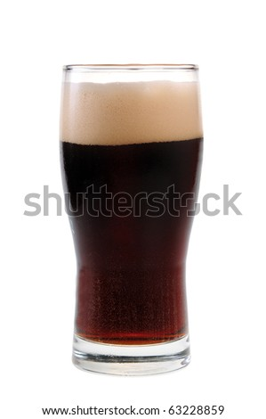 A pint of stout isolated on white background - stock photo