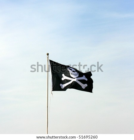 A pirate flag in the wind