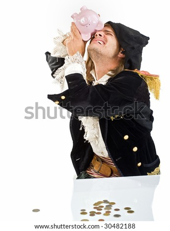 a pirate looking into a piggy bank isolated on white - stock photo