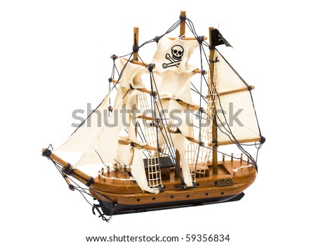 A pirate ship with a flag isolated on white