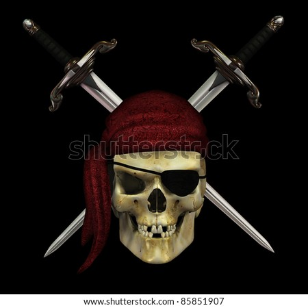 A pirate skull with crossed daggers on black - 3d render. - stock photo