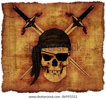 A pirate skull with crossed daggers on old parchment - 3d render. - stock photo