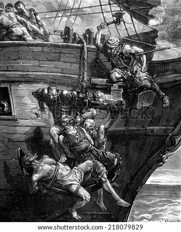 A pirate. The anchor sank, taking with it the human cluster, vintage engraved illustration. Journal des Voyages, Travel Journal, (1879-80). - stock photo