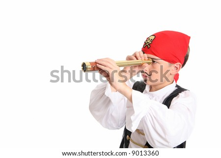 A pirate using a spotting scope to search for ships or far off lands. Horizontal with space for text. - stock photo