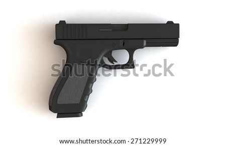 A pistol isolated on white. The pistol has a loaded magazine of bullets and is places on a white surface. - stock photo