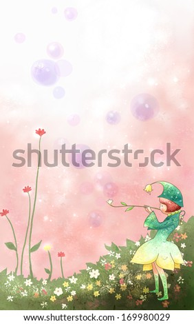 A pixie playing a daisy in a garden.