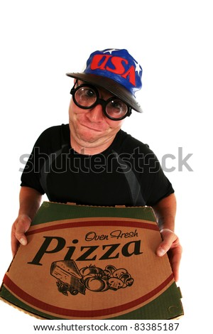 a pizza delivery man brings you Fresh Baked Pizza right to your door. isolated on white with room for your text. shot with a fisheye lens for a fun and funny image. - stock photo