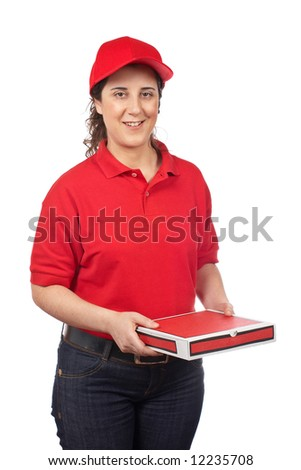 A pizza delivery woman holding a hot pizza. Isolated on white - stock photo