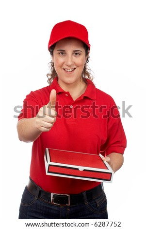 A pizza delivery woman holding a hot pizza. Isolated on white and success gesture - stock photo