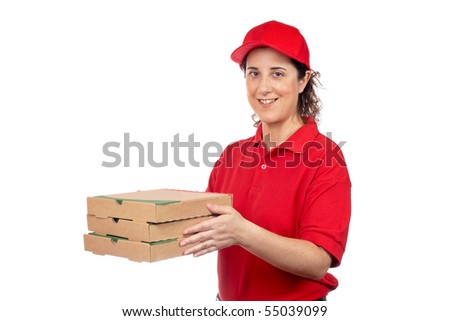A pizza delivery woman holding three boxes. Isolated on white - stock photo