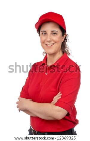 A pizza delivery woman isolated on white - stock photo