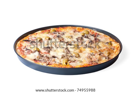 a pizza, isolated on white