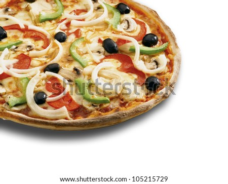 A  pizza on a white background ( clipping path ) - stock photo