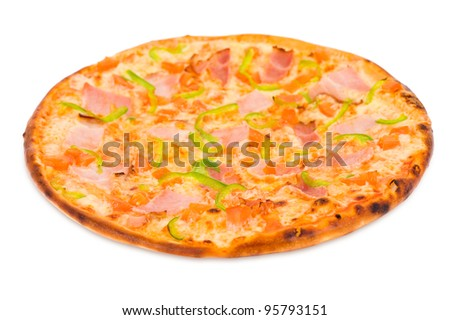 a pizza with ham, green paprika and tomatoes - stock photo