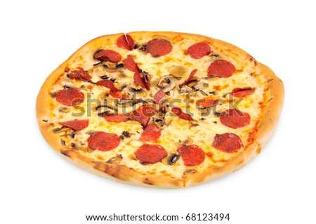 A pizza  with  pepperoni. Isolated on white.