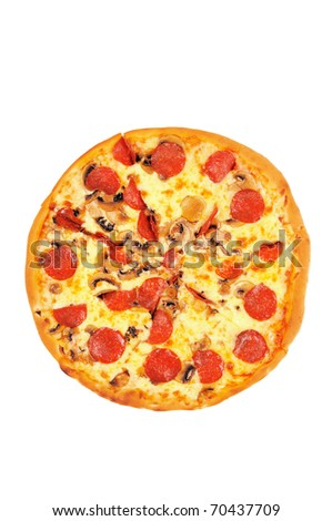 A pizza  with  pepperoni. Isolated on white. - stock photo