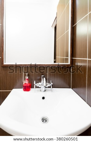 a place for an inscription above the sink in the bathroom - stock photo