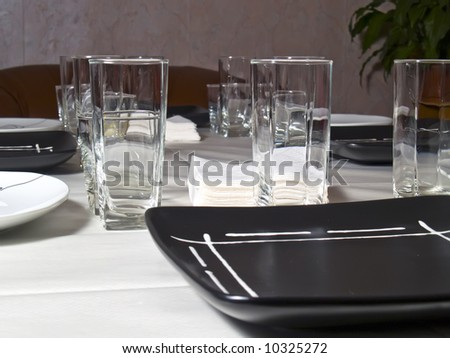 A place setting preparing for dinner - stock photo
