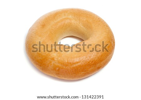 a plain bagel on a white background - stock photo