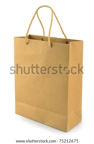 A plain brown paper gift bag isolated on white background - stock photo