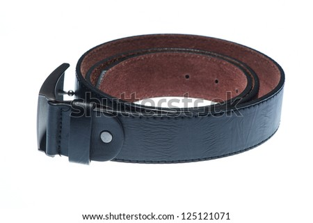 A plain dark brown leather belt isolated on white - stock photo