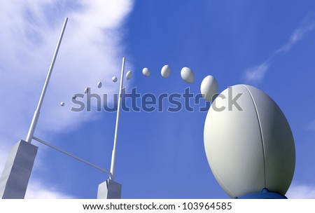 A plain white rugby ball on a kicking tee in front of rugby posts with the balls trajectory plotted through the posts - stock photo