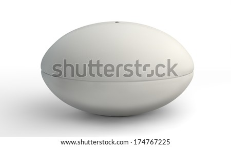 A plain white textured rugby ball with laces on a kicking tee on a isolated white background - stock photo