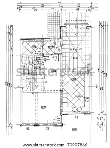 A plan (drawing) of a building, including details, equipment, furniture, made with black ink, on white paper - stock photo