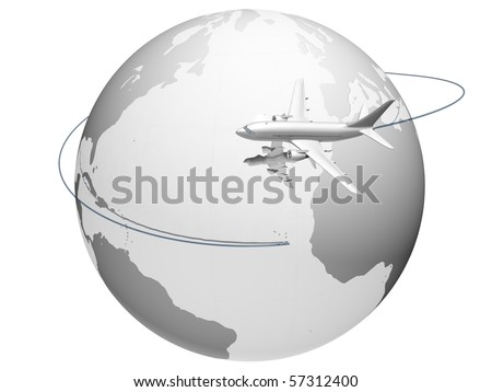 A plane flying around the globe - stock photo