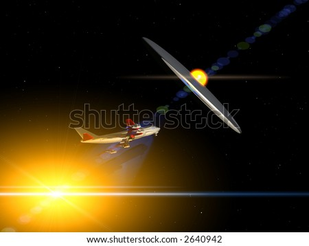 A plane flying high in the sky  at night with a glowing UFO chasing the plane and abducting it. - stock photo