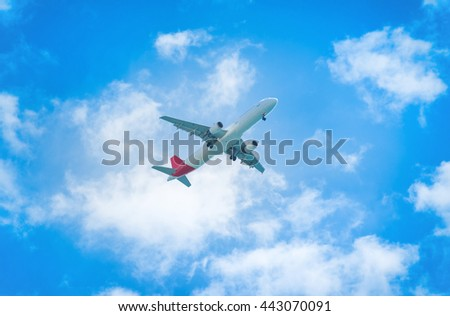 A plane flying in the blue sky with white clouds
