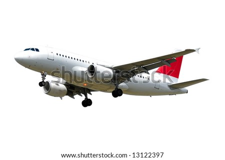 A plane isolated on a clean white background - stock photo
