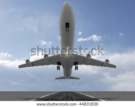 a plane taking off - stock photo