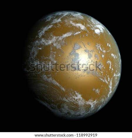 A planet beyond our solar system. Isolated on black. Elements of this image furnished by NASA. - stock photo