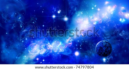 A planet is in space, long nebula or part of galaxy among star sky - stock photo