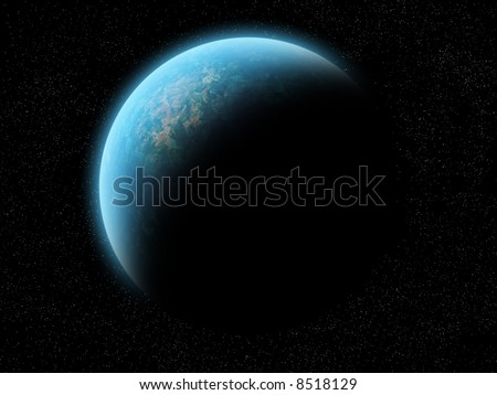 A planet (maybe earth) half illuminated, half shadow. Over a black space with stars. It's a great image for background. It can be cropped in many ways to create a background for your needs.