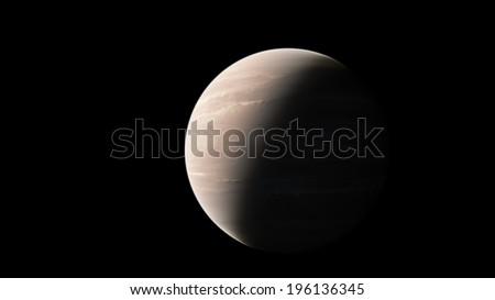 A planet similar to Jupiter against black background - stock photo