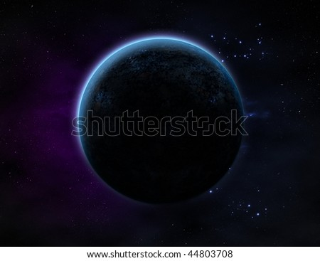 A planet with glow in outer space with lots of star and purple/blue haze.