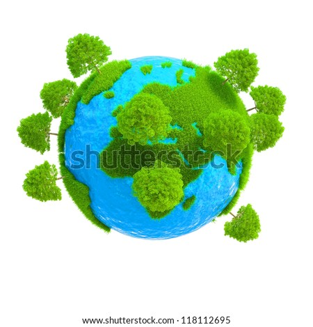 A planet with trees growing on it isolated on white background - stock photo